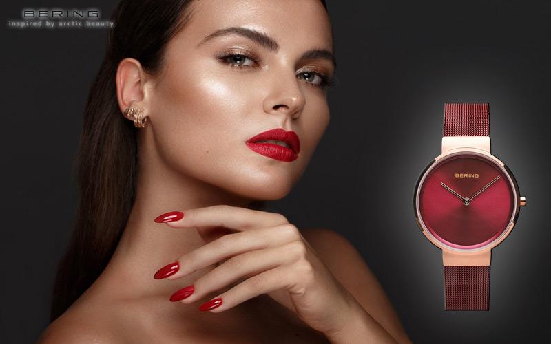 Bering 14531-363 reloj para mujer en rojo clásico